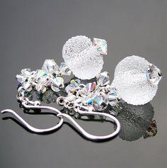 Frost Clear Earrings Sterling Silver Earrings by DorotaJewelry