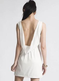 White Party Dress with Cutout Neckline and Draped Back $59