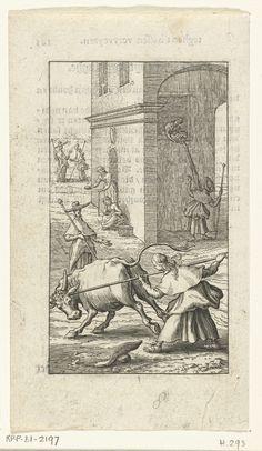 Boëtius Adamsz. Bolswert | Willemynken vecht met stier en Duyfken berispt haar, Boëtius Adamsz. Bolswert, 1590 - 1627 | Willemynken vecht met een stier en Duyfken berispt haar. Een andere scène toont Willemynken wederom in een benarde positie want zij loopt net onder een raam waar een vrouw een emmer water leeggooit.