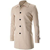 FLATSEVEN Mens Single Breasted Trench Coat with Big Pocket