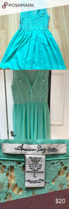 Teal dress by American Rag Teal dress, worn twice and in good condition. Slight pull in the bottom corner. Smoke free home. American Rag Dresses Midi