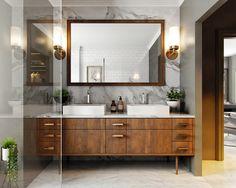 Top 100 ideas baño principal y diseños Contemporary Small Bathrooms, Small Modern Home, Modern Bathroom, Master Bathroom, Bathroom Vanities, Mid Century Bathroom, Mid Century Modern Kitchen, Bathroom Furniture, Bathroom Interior