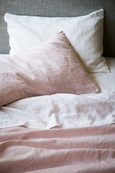 Luxuriate in these Shaw Color Forecast colors, Awakened Blush and Gardenia White found in these fabulous linen sheets.