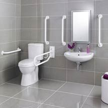 Powder Coating can be a great, sleek, simple solution for a modern #washroom #powdercoat  #grabbar