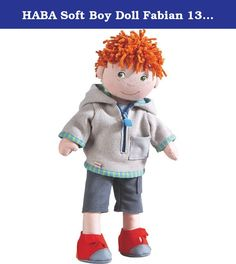 """HABA Soft Boy Doll Fabian 13.5"""" with Red Hair, Green Eyes and Freckles. """"Hello! My name is Fabian. I love to play soccer with my friends. I am the best striker on our team and score the most goals!"""" Includes a hooded jacket, pants and sneakers. Padded body, chenille hair. Material: polyester. Dimensions: 13 ½"""" tall."""