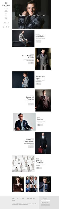 Navigation Column on left hand side interesting Canali news - #responsive http://www.canali.com/en/ledizione