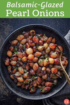 Deeply caramelized with balsamic vinegar until glossy and browned, these sweet and tangy jewels are a gorgeous addition to your holiday p. Fresh Pearl Onions Recipe, Pearl Onion Recipe, Vegetable Side Dishes, Vegetable Recipes, Vegetarian Recipes, Cooking Recipes, Balsamic Onions, Balsamic Vinegar, Pasta Dinners