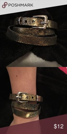 Gold Distressed Wrap Buckle Bracelet Worn 1x. Gold Distressed bracelet from Aldo. Aldo Jewelry Bracelets