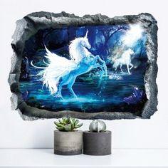 Unicorn 3D Broken Wall Art Sticker - 50*70CM 50*70CM