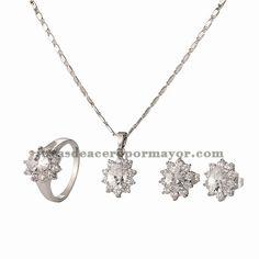 juego de collar y aretes y anillo de cristal de plateado para mujer-BRNEG101127