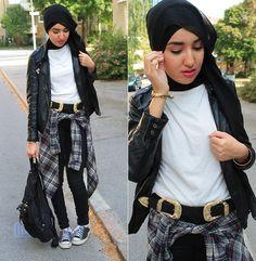Gina Tricot Belt, Weekday Shirt, Primark Leatherjacket #hijab