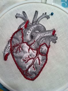 Work in Progress: Anatomical heart printed on muslin, appliqued to linen with red embroidery. By Natalie Turner-Jones