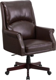 High Back Leather OverStuffed Executive Office Chair Black 32H