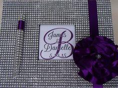 Custom Guest Book Set Purple 50 & Fab by ParadiseBridal on Etsy