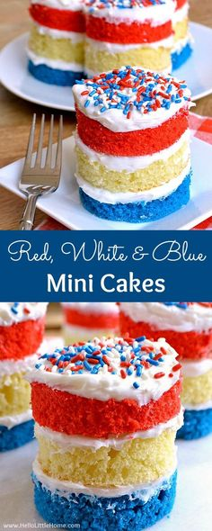 Red White and Blue Mini Cakes Recipe Learn how to make these easy homemade mini cakes These red white and blue desserts are great for any patriotic party or BBQ this summ. 4th Of July Desserts, Fourth Of July Food, Köstliche Desserts, Delicious Desserts, July 4th, Fourth Of July Cakes, Eggless Desserts, Patriotic Desserts, Homemade Desserts