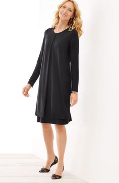plus size Wearever layered long-sleeve dress | J.Jill
