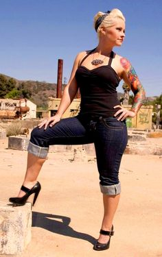 rockabilly pin up ❁✿❀❁♥ rolled dark blue skinny jeans, black halter top, mary jane strap heels, hair scarf & platinum bleached hair.