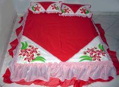 Artes e Pinturas da Dedey: Colcha Casal (Vermelho)