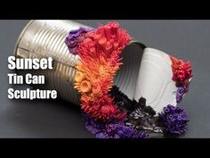 Growth Sunset | Speed Sculpting, Polymer Clay on a Tin Can Sculpture - YouTube