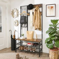 17 Stories Borman Hall Tree with Bench and Shoe Storage Entryway Coat Rack, Entryway Storage, Storage Spaces, Small Entryway Decor, Hall Coat Rack, Entryway Hall Tree, Ikea Entryway, Coat Racks, Coat And Shoe Rack