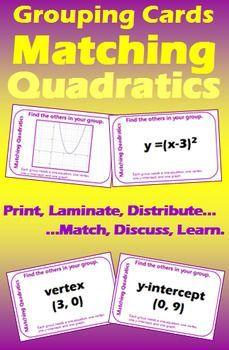 Grouping Cards Matching Quadratics I Math Lesson Plans Math