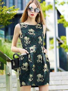 Green Round Neck Dress