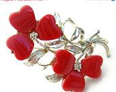 Vintage Brooch Flower Pin Thermoset Plastic Wine Red Silver Jewelry