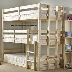 Pandora 3ft Single 3 Tier HEAVY DUTY Solid Pine HIGH Triple Sleeper Bunk Bed HEAVY DUTY solid pine bunk beds. The top bunk has a strong centre rail for added support. Manufactured using sustained, solid Scandinavian pine wood. The side rails are strengthened to take additional