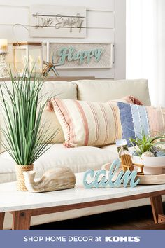 Bring the beach to you this summer with coastal home decor. From light, striped throw pillows to ocean-inspired accents, we have everything you need to create a seaside escape right in your living room. Shop beachy throw pillows, accents, lanterns and more at Kohl's and Kohls.com. #coastal #decor Room Wall Decor, Bedroom Decor, Home Living Room, Living Room Decor, Vintage Industrial Decor, Beach House Decor, Home Decor, Dining Room Walls, Aesthetic Bedroom