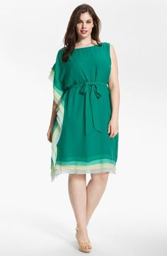dress for apple shaped women - this looks like it would be flattering for big tummy gals - Vince Camuto Asymmetrical Tiered Dress (Plus Size) (Online Only) | Nordstrom