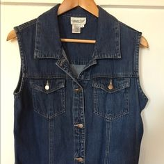 Light weight cotton jean vest Cold water creek light weight cotton/jean vest.  Excellent condition.  Fits to a size 6. Soft material. Coldwater Creek Tops Tunics