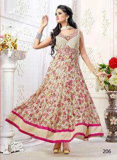 Khantil Off White Colored Designer And Flowed Printed Anarkali Suit Anarkali Suits Ethnic Wear