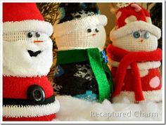 hristmas without some adorable sock snowmen! And now there's Santa too. A totally fun addition to your mantle this year, and if you have kids they will love to join in the fun! These make fun gifts too, so head over to Recaptured Charm for the tutorial – Sock Snowman & Santa.