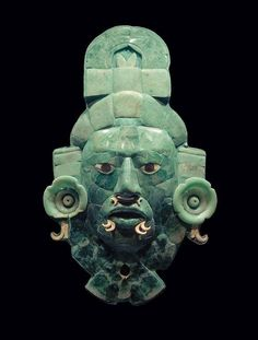 Jade Mayan Mask, 600 AD. I chose this one plainly on how beautiful the masks of the Mayans really were. This one is made out of the jade stone. I can't even imagine how long it took them with their few resources and how difficult it must have been to get all the little details.