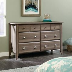 Sauder Shoal Creek 6 Drawer Dresser in Diamond Ash