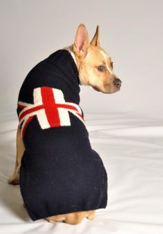 The Union Jack Dog Sweater by Chilly Dogs will have all tails waggin! Chilly Dog Sweaters are made following the Fair Trade guidelines. All sweaters are handmade with love and may vary slightly. - Han