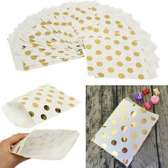 Buy Paper Cake Cupcake Liner Baking Muffin Box Cup Case Party Tray Cake Mold Decorating Tools at Wish - Shopping Made Fun Paper Sweet Bags, Paper Party Bags, Paper Bags, Polka Dot Paper, Gold Polka Dots, Gold Stripes, Candy Favors, Candy Bags, Birthday Favors