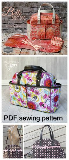 PDF bag sewing pattern. Smart, spacious and stroller savvy,all rolled into one stylish diaper bag. Choose from threecarrying options including stroller clips, an adjustableshoulder strap, and handles. Ten pockets, inside andout, allow you to keep everything at your fingertips,all while looking effortlessly chic.