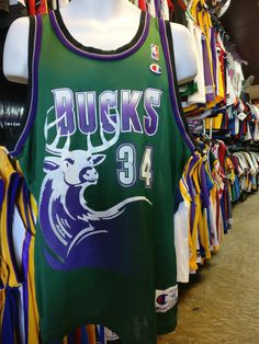 Vintage #34 RAY A...  Now available!! #xl3vintageclothing http://xl3vintageclothing.net/products/vintage-34-ray-allen-milwaukee-bucks-nba-champion-jersey-44?utm_campaign=social_autopilot&utm_source=pin&utm_medium=pin