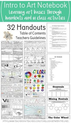 This is the notebook out line I use every year in my Introduction to Art class. It includes a table of contents, teacher guidelines, and 32 handouts. It's editable so you can add to it and make it your own.#artnotebook #art #project #lesson#introductiontoart #introtoart #tpt#teacherspayteachers #notebook #artbasics#handouts #worksheets