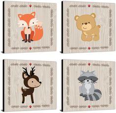 Etsy Woodland Creatures - Nursery Décor. Gender neutral baby decor. Little Fox, Bear, Deer, Racoon. (afflink)