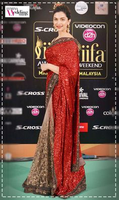 Can't get enough from looks that are bridal? Here is the hottest for you: Deepika Padukone looked divine in a sequined #Sabyasachi sari while walking the green carpet at #IIFA 2015