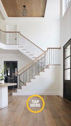 Living Room Hardwood Floors, White Shiplap Wall, White Wainscoting, Hardwood Floors, Bookcase Design, Foyer Design, Wide Plank Hardwood Floors, Patterned Floor Tiles, White Shiplap