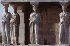 The Erechteion is another temple on the Acropolis that has a section for Poseidon and a section for Athena. These female statues are replicas to protect the originals from damage