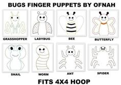 OFNAH - GARDEN INSECTS FINGER PUPPETS SET PATTERNS