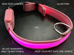 LED PET GLOW COLLAR dog cat night safety lead adjustable harness flash light up large Hot Pink *** Click image for more details.Note:It is affiliate link to Amazon.