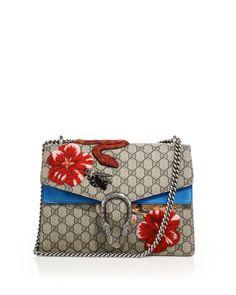 Gucci- Multicolor Dionysus Gg Supreme Canvas Embroidered Shoulder Bag