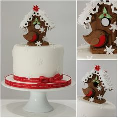 Traditional Christmas Gingerbread Bird House - by TiersandTiaras @ CakesDecor.com - cake decorating website