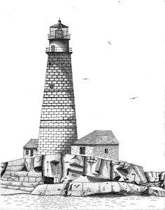 Boston Harbor Lighthouse Drawing  - Boston Harbor Lighthouse Fine Art Print