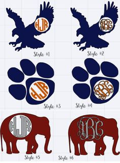 Auburn/Alabama Monogram Decal Sticker by LillyBeanMonograms